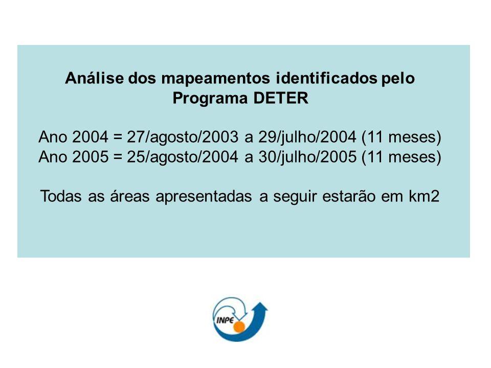 Análise dos mapeamentos identificados pelo Programa DETER Ano 2004 = 27/agosto/2003 a 29/julho/2004 (11 meses) Ano 2005 = 25/agosto/2004 a 30/julho/20