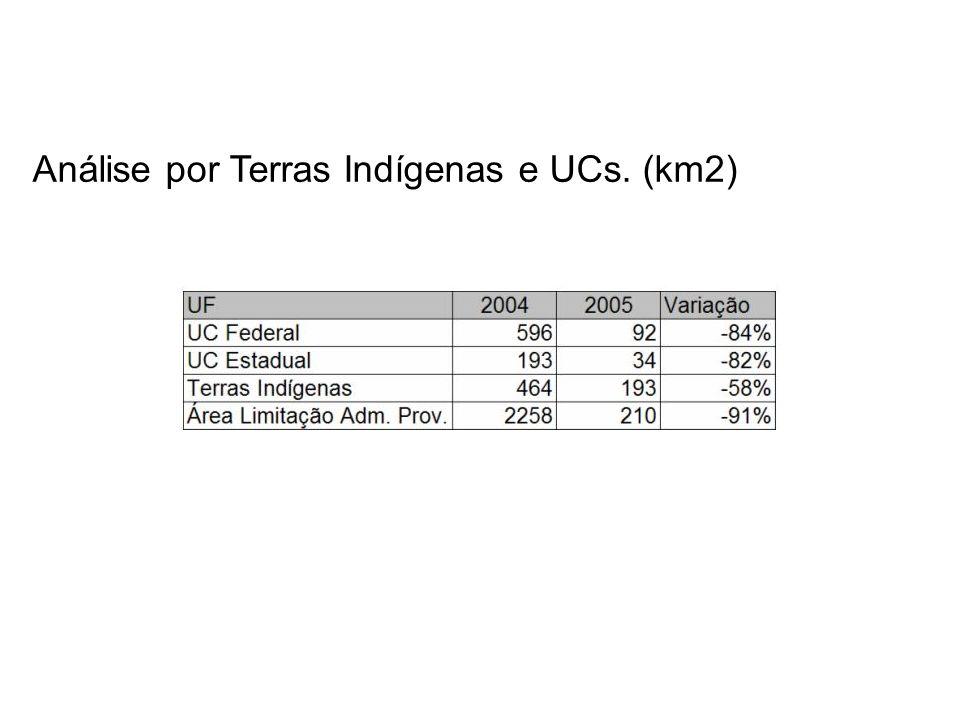 Análise por Terras Indígenas e UCs. (km2)