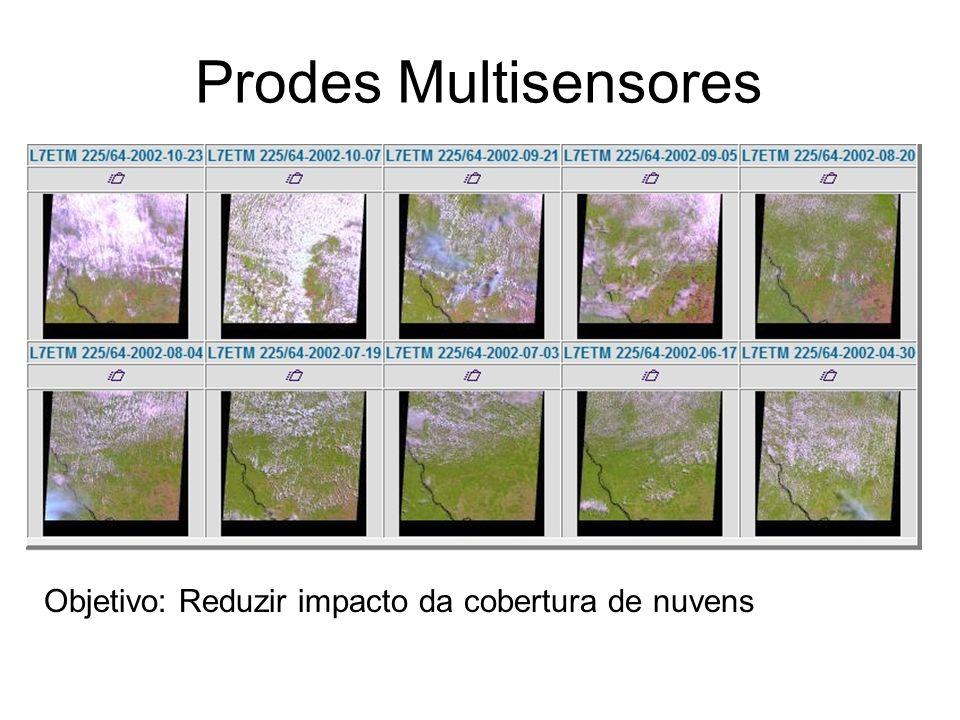 Objetivo: Reduzir impacto da cobertura de nuvens Prodes Multisensores