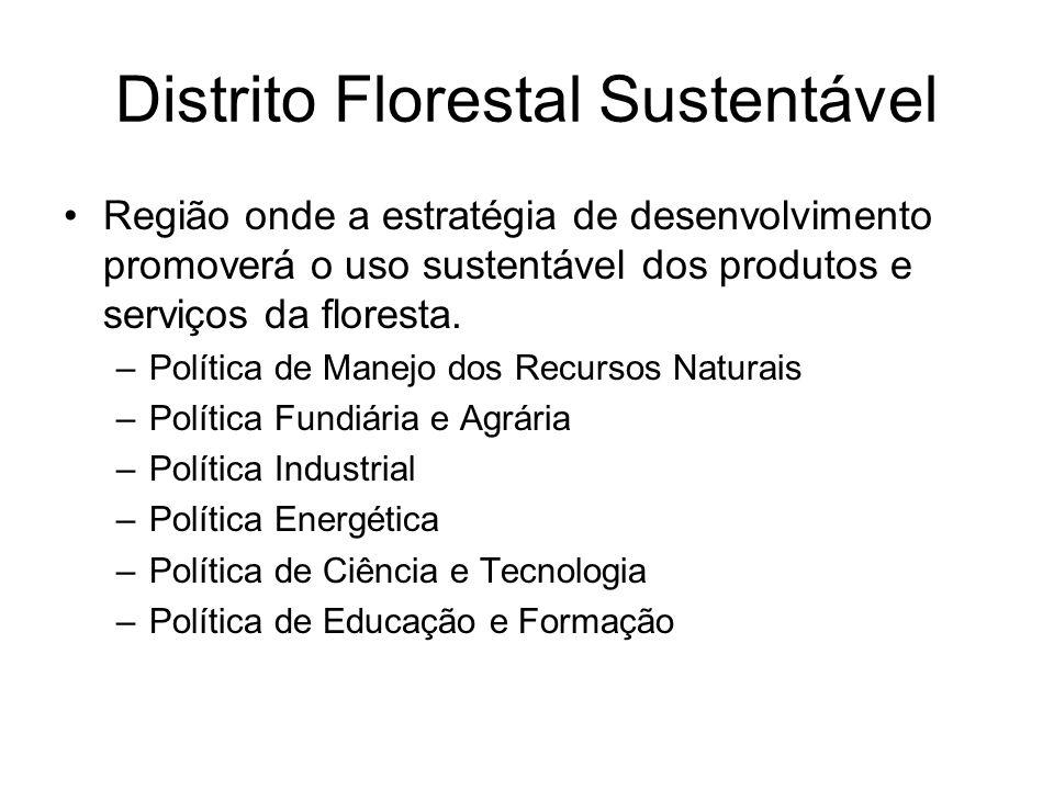 Distrito Florestal Sustentável Região onde a estratégia de desenvolvimento promoverá o uso sustentável dos produtos e serviços da floresta. –Política