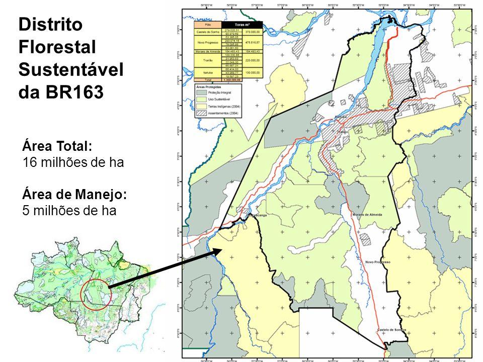 Distrito Florestal BR 163 Área Total: 16 milhões de ha Área de Manejo: 5 milhões de ha Distrito Florestal Sustentável da BR163