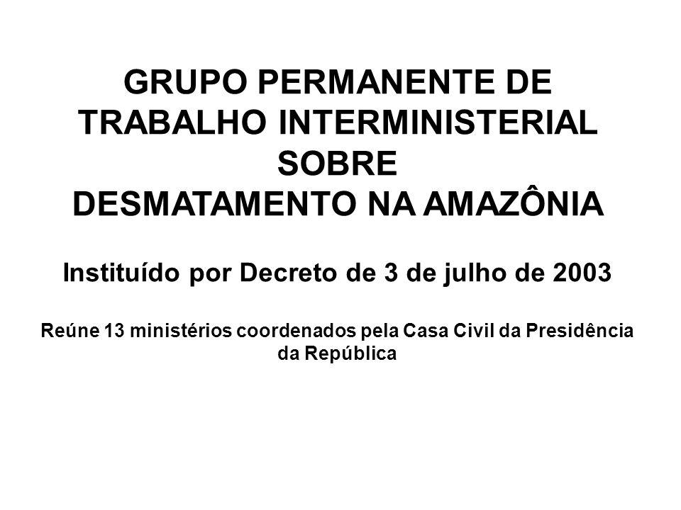Plano de Prevenção e Controle ao Desmatamento na Amazônia Legal Aprovado pelo Presidente da República em março de 2004 DIRETRIZES ADOTADAS Valorização da Floresta Setor Florestal e Extrativista Priorizar o Melhor Uso das Áreas Desmatadas Priorizar o Melhor Uso das Áreas Desmatadas Setor Agropecuário Ordenamento Fundiário e Territorial Regras Claras Planejamento Estratégico da Infra-estrutura Planejamento Estratégico da Infra-estrutura Transporte Energia Monitoramento e Controle Ambiental Eficiência e Eficácia Integração de Ações Participação Sociedade