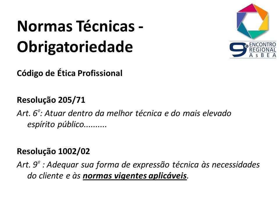 Normas Técnicas - Obrigatoriedade Código de Ética Profissional Resolução 205/71 Art. 6 º : Atuar dentro da melhor técnica e do mais elevado espírito p