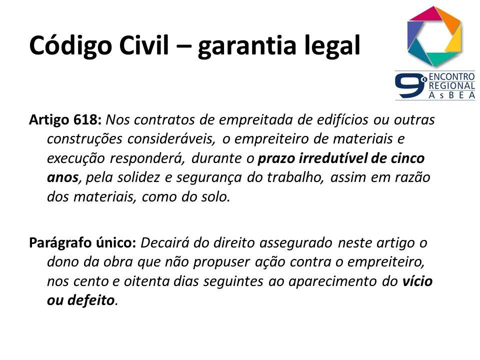 Código Civil – garantia legal Artigo 618: Nos contratos de empreitada de edifícios ou outras construções consideráveis, o empreiteiro de materiais e e