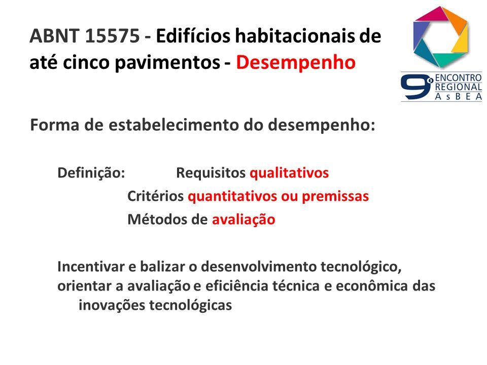 ABNT 15575 - Edifícios habitacionais de até cinco pavimentos - Desempenho Forma de estabelecimento do desempenho: Definição: Requisitos qualitativos C