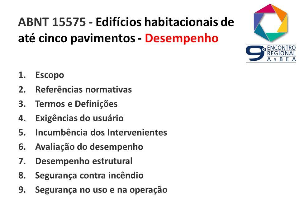 ABNT 15575 - Edifícios habitacionais de até cinco pavimentos - Desempenho 1.Escopo 2.Referências normativas 3.Termos e Definições 4.Exigências do usuá