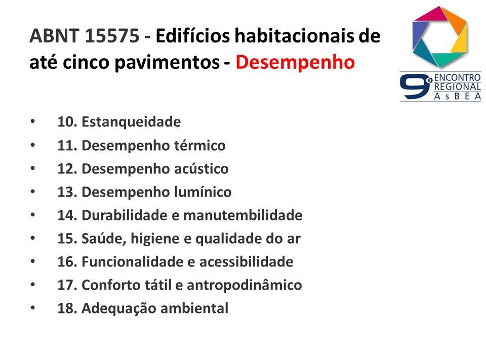 ABNT 15575 - Edifícios habitacionais de até cinco pavimentos - Desempenho 10. Estanqueidade 11. Desempenho térmico 12. Desempenho acústico 13. Desempe