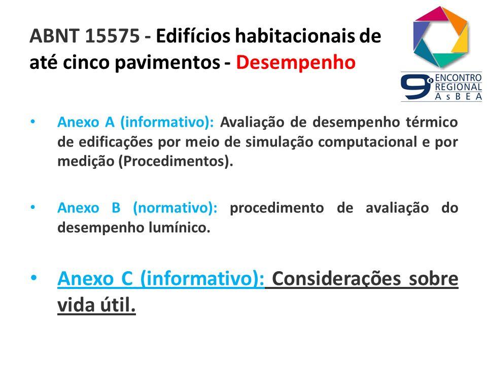ABNT 15575 - Edifícios habitacionais de até cinco pavimentos - Desempenho Anexo A (informativo): Avaliação de desempenho térmico de edificações por me