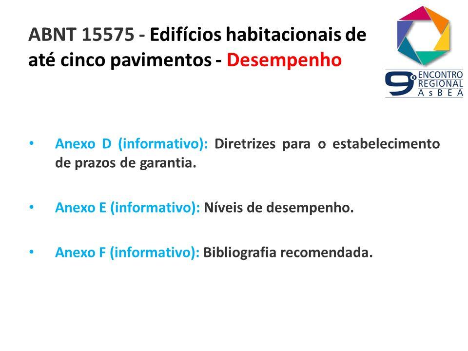 ABNT 15575 - Edifícios habitacionais de até cinco pavimentos - Desempenho Anexo D (informativo): Diretrizes para o estabelecimento de prazos de garant
