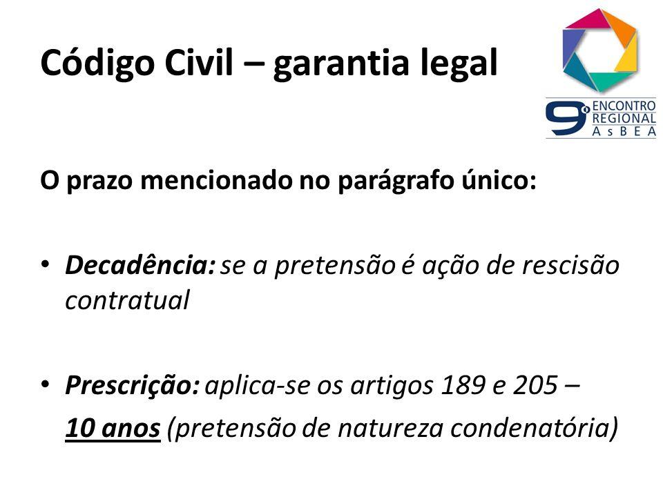 Código Civil – garantia legal O prazo mencionado no parágrafo único: Decadência: se a pretensão é ação de rescisão contratual Prescrição: aplica-se os
