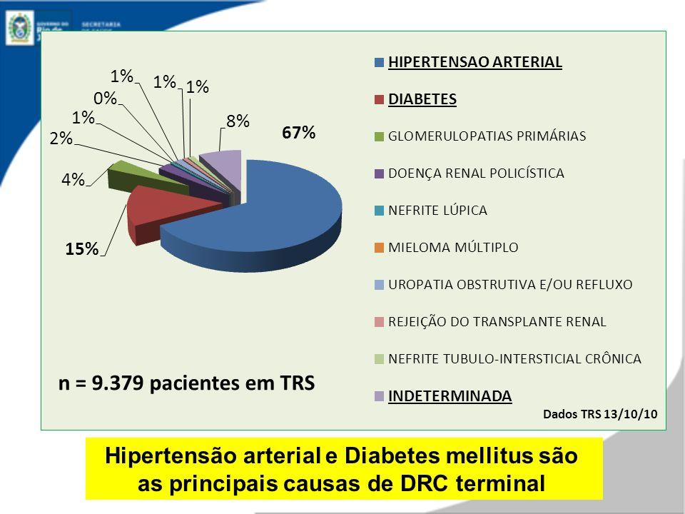 Dados TRS 13/10/10 n = 9.379 pacientes em TRS Hipertensão arterial e Diabetes mellitus são as principais causas de DRC terminal