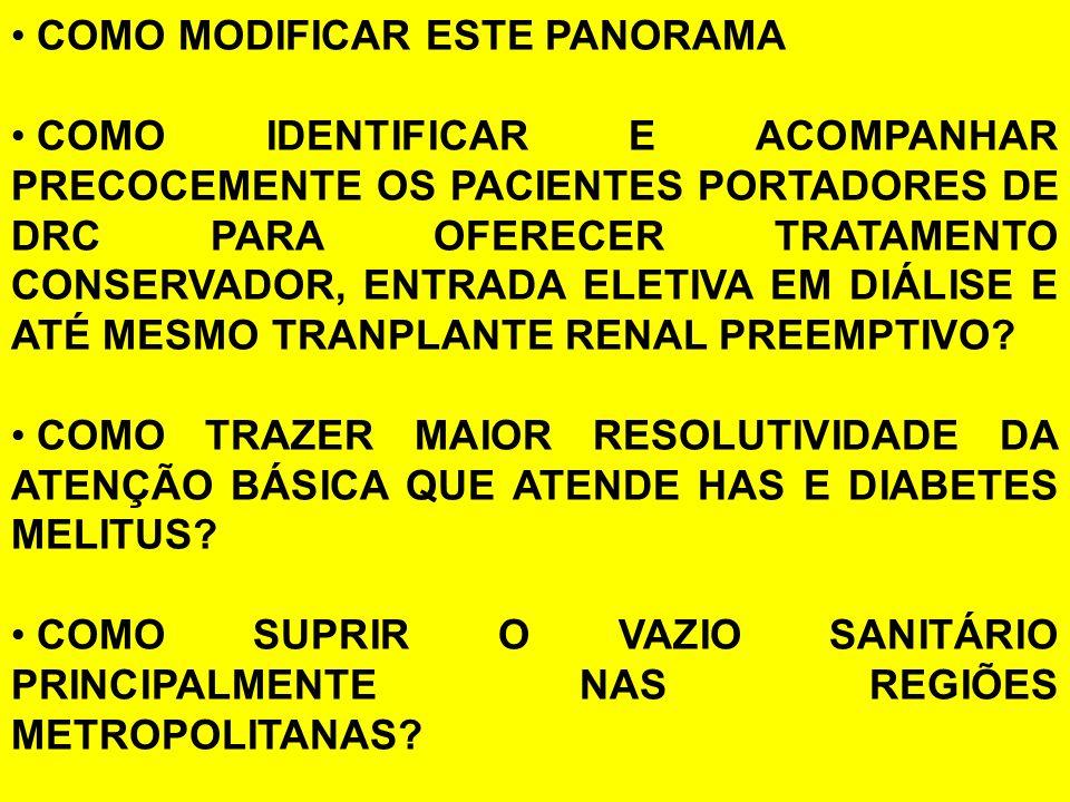COMO MODIFICAR ESTE PANORAMA COMO IDENTIFICAR E ACOMPANHAR PRECOCEMENTE OS PACIENTES PORTADORES DE DRC PARA OFERECER TRATAMENTO CONSERVADOR, ENTRADA ELETIVA EM DIÁLISE E ATÉ MESMO TRANPLANTE RENAL PREEMPTIVO.