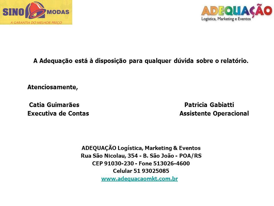 A Adequação está à disposição para qualquer dúvida sobre o relatório. Atenciosamente, Catia Guimarães Patricia Gabiatti Executiva de Contas Assistente