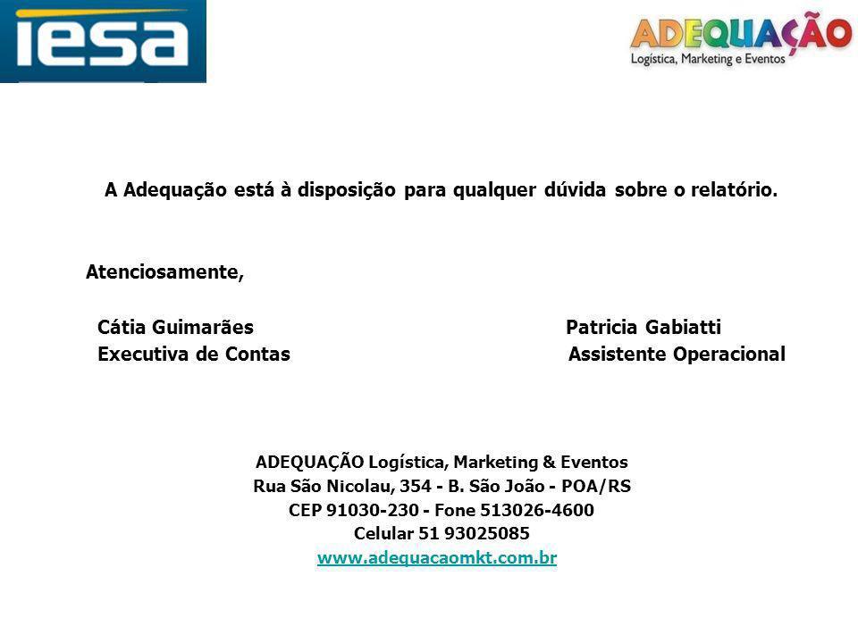 A Adequação está à disposição para qualquer dúvida sobre o relatório. Atenciosamente, Cátia Guimarães Patricia Gabiatti Executiva de Contas Assistente