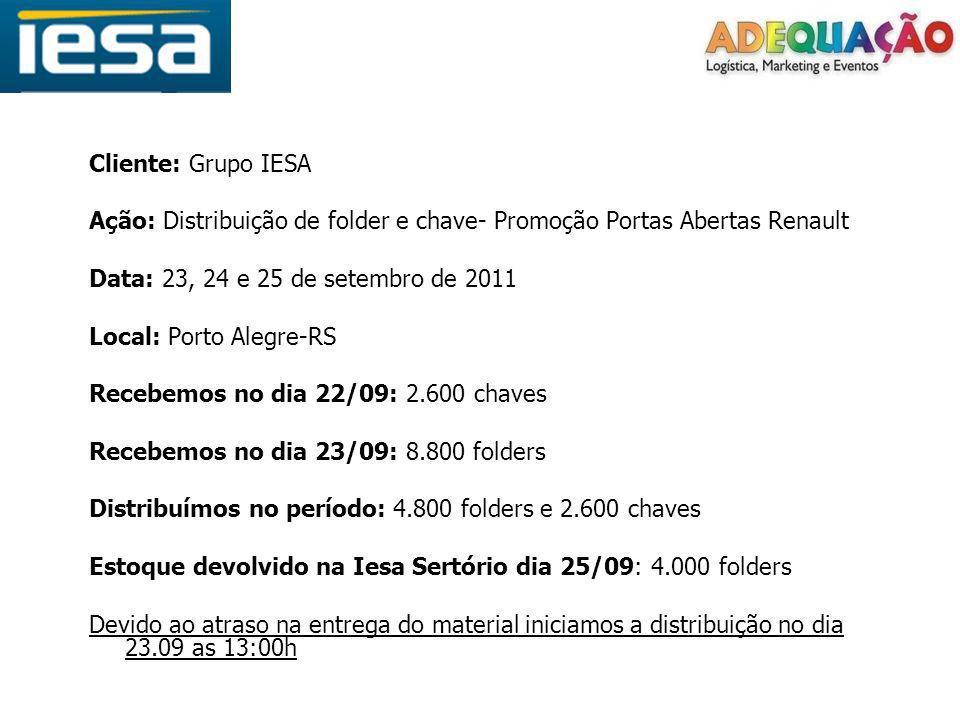 Cliente: Grupo IESA Ação: Distribuição de folder e chave- Promoção Portas Abertas Renault Data: 23, 24 e 25 de setembro de 2011 Local: Porto Alegre-RS