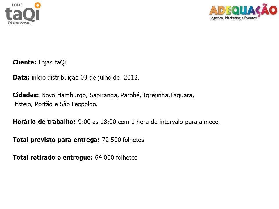 Cliente: Lojas taQi Data: início distribuição 03 de julho de 2012. Cidades: Novo Hamburgo, Sapiranga, Parobé, Igrejinha,Taquara, Esteio, Portão e São