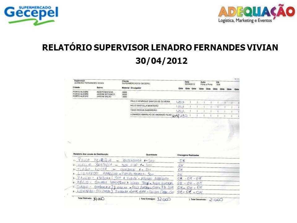 RELATÓRIO SUPERVISOR LUCAS FERREIRA DE CASTRO 09/05/2012