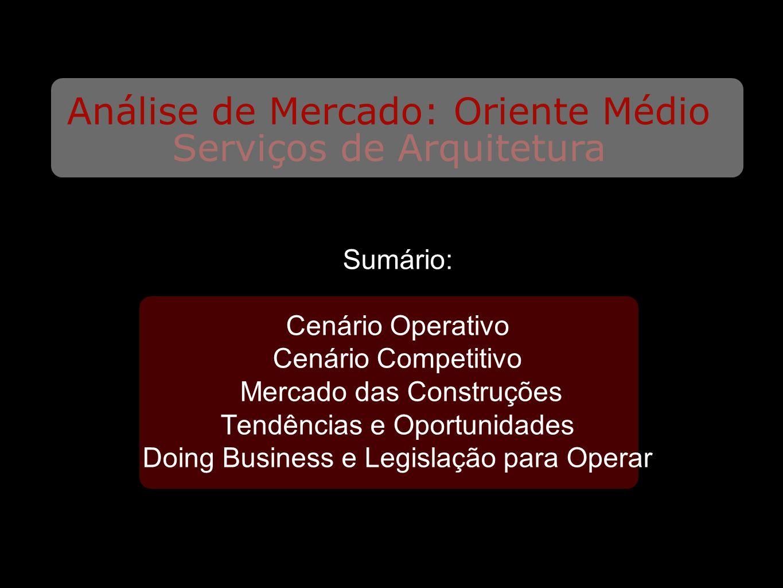 Serviços de Arquitetura Análise de Mercado: Oriente Médio Sumário: Cenário Operativo Cenário Competitivo Mercado das Construções Tendências e Oportunidades Doing Business e Legislação para Operar
