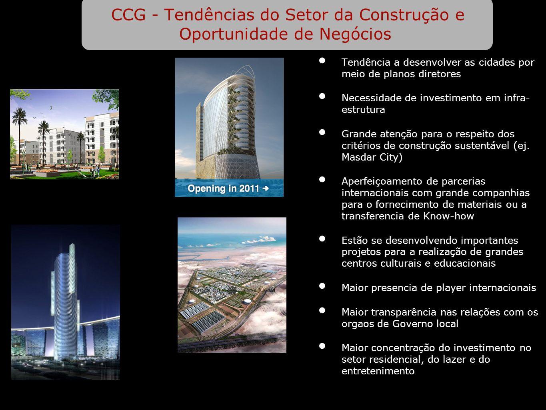 CCG - Tendências do Setor da Construção e Oportunidade de Negócios Tendência a desenvolver as cidades por meio de planos diretores Necessidade de investimento em infra- estrutura Grande atenção para o respeito dos critérios de construção sustentável (ej.