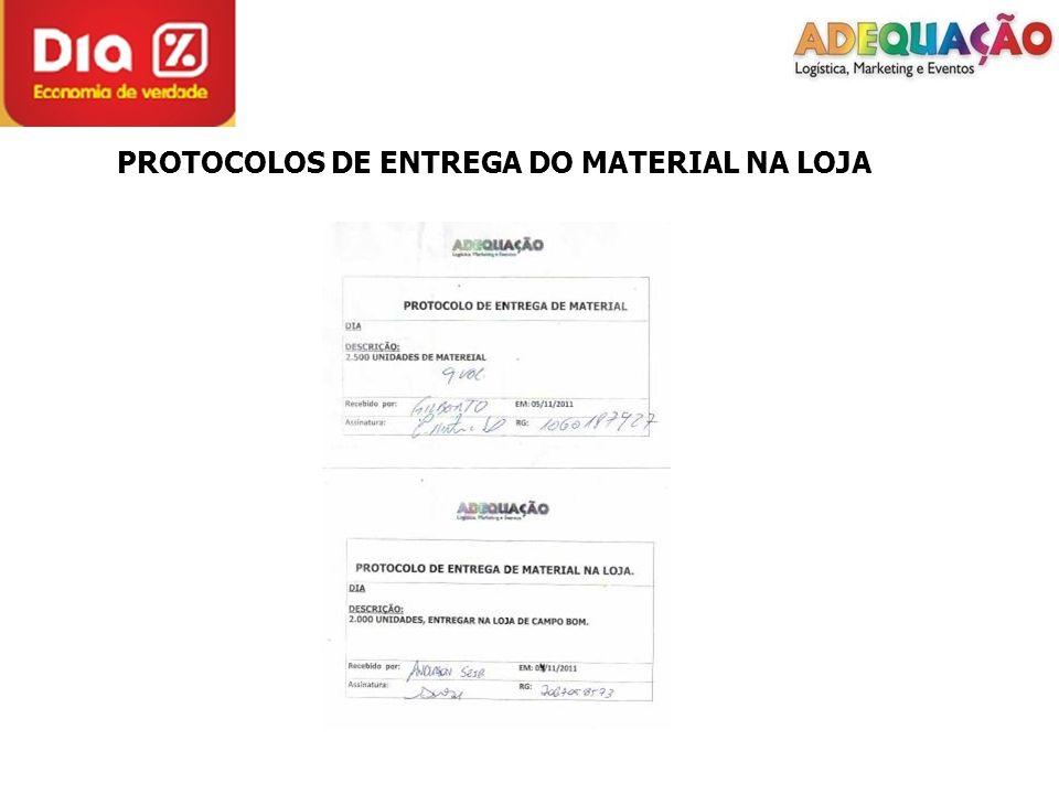 PROTOCOLOS DE ENTREGA DO MATERIAL NA LOJA