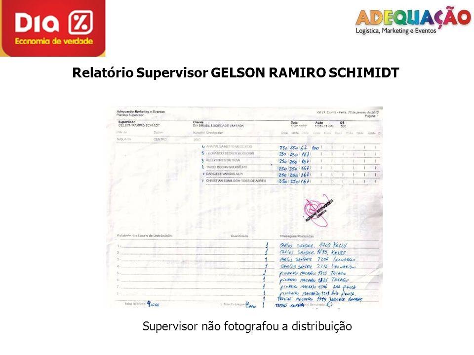 Relatório Supervisor GELSON RAMIRO SCHIMIDT Supervisor não fotografou a distribuição