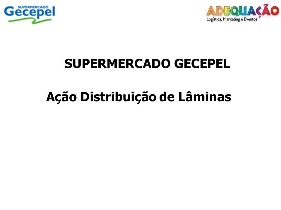 Cliente: Supermercado Gecepel Ação: Distribuição de Lâminas Data: 28 de outubro de 2011 Local: Porto Alegre-RS Horário de trabalho: 9:00 as 18:00 Recebemos: 15.000 folhetos Distribuímos no período: 15.000 folhetos Validade do folheto distribuído: 28 a 30/10/2011 Validade da 2° feira Hortifruti somente para: 31/10/2011