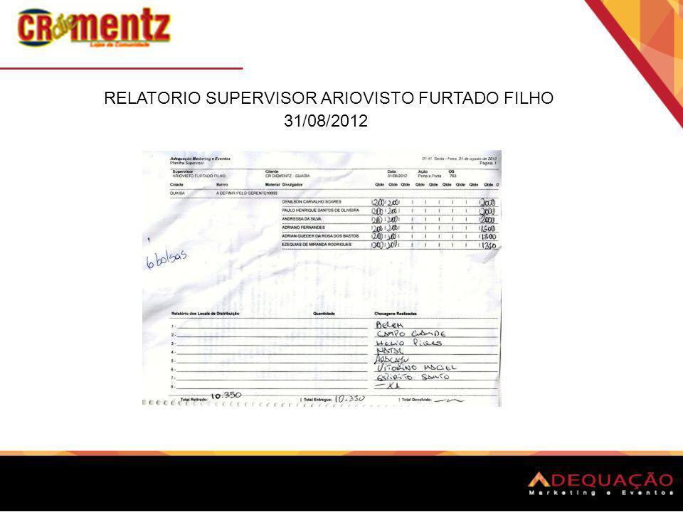 RELATÓRIO SUPERVISOR ARIOVISTO FURTADO FILHO 01/09/2012