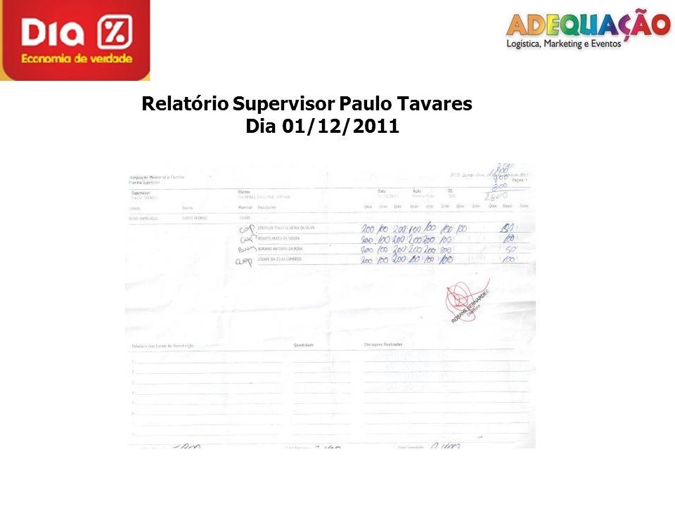 Relatório Supervisor Paulo Tavares Dia 01/12/2011