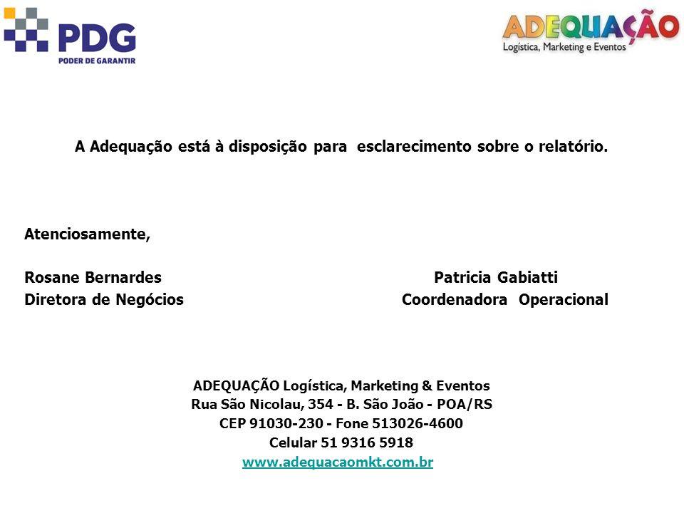 A Adequação está à disposição para esclarecimento sobre o relatório. Atenciosamente, Rosane Bernardes Patricia Gabiatti Diretora de Negócios Coordenad