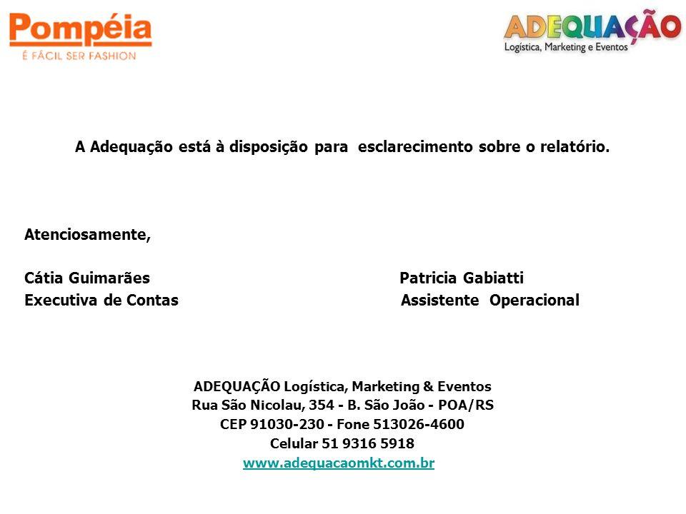 A Adequação está à disposição para esclarecimento sobre o relatório. Atenciosamente, Cátia Guimarães Patricia Gabiatti Executiva de Contas Assistente