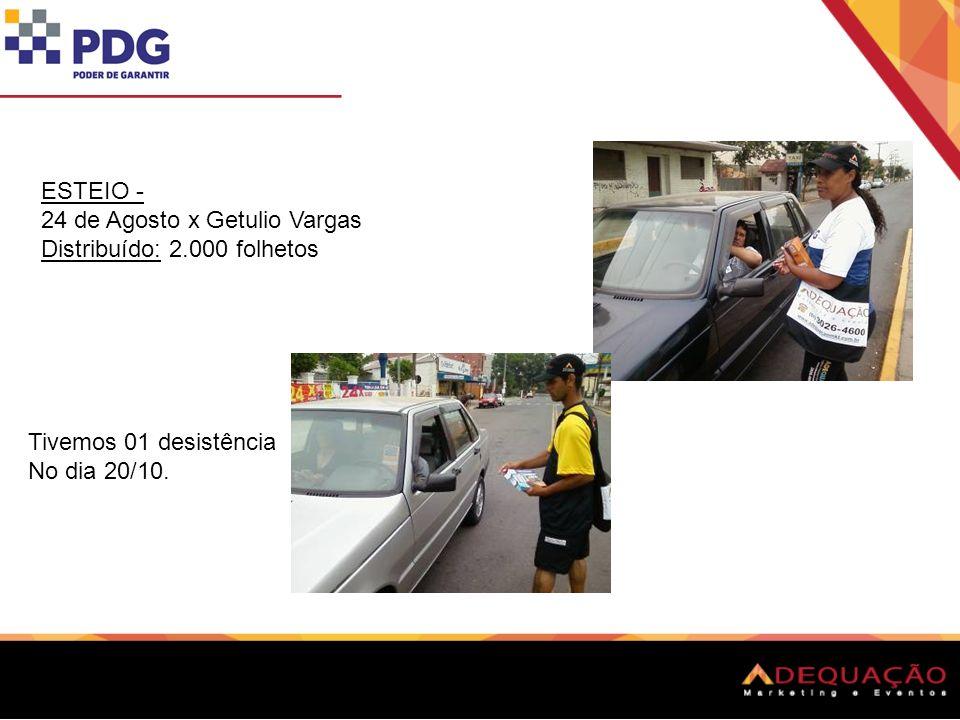 ESTEIO - 24 de Agosto x Getulio Vargas Distribuído: 2.000 folhetos Tivemos 01 desistência No dia 20/10.