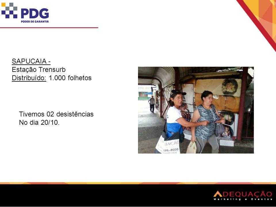 SAPUCAIA - Estação Trensurb Distribuído: 1.000 folhetos Tivemos 02 desistências No dia 20/10.