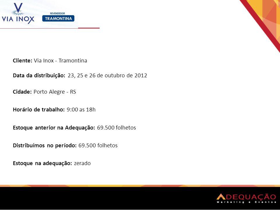 Cliente: Via Inox - Tramontina Data da distribuição: 23, 25 e 26 de outubro de 2012 Cidade: Porto Alegre - RS Horário de trabalho: 9:00 as 18h Estoque