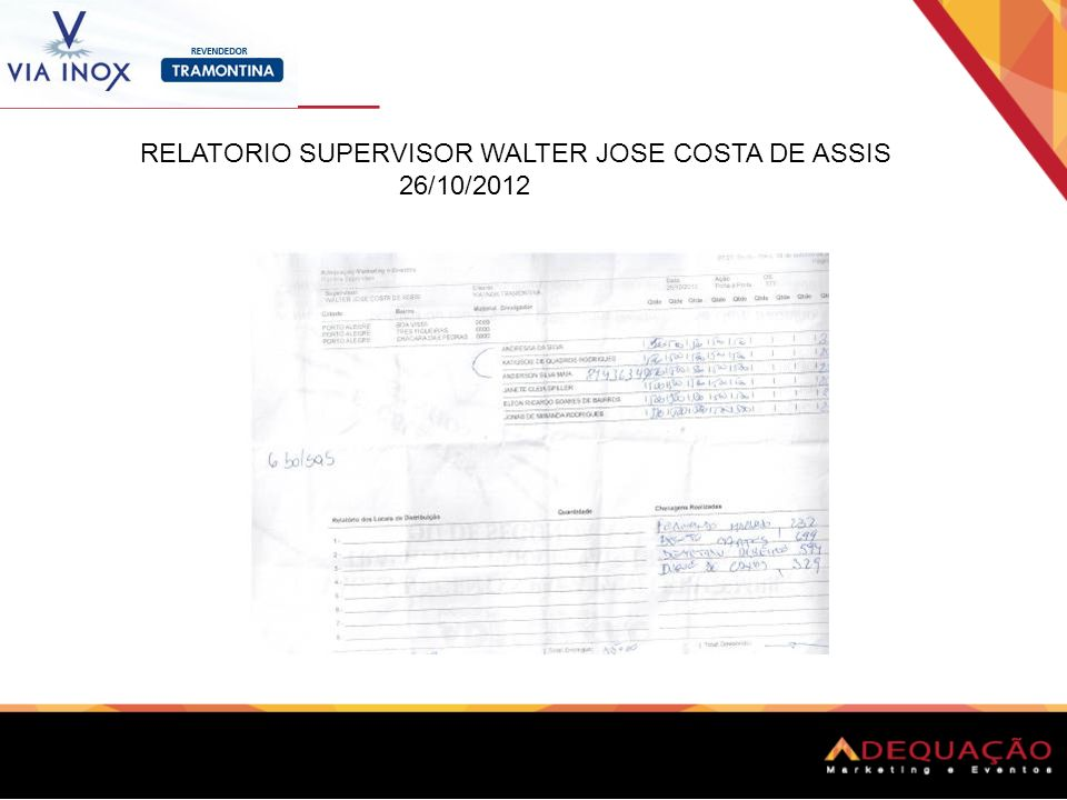 RELATORIO SUPERVISOR WALTER JOSE COSTA DE ASSIS 26/10/2012