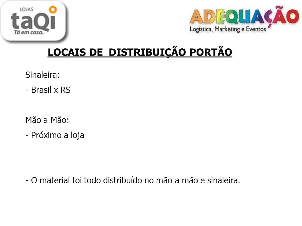 LOCAIS DE DISTRIBUIÇÃO PORTÃO Sinaleira: - Brasil x RS Mão a Mão: - Próximo a loja - O material foi todo distribuído no mão a mão e sinaleira.