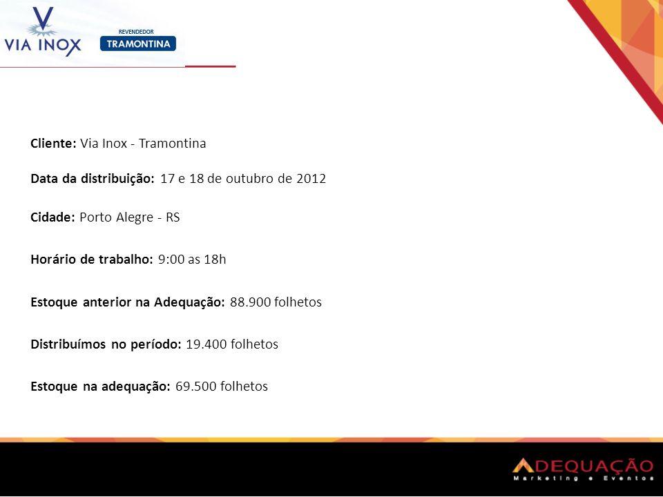 Cliente: Via Inox - Tramontina Data da distribuição: 17 e 18 de outubro de 2012 Cidade: Porto Alegre - RS Horário de trabalho: 9:00 as 18h Estoque ant