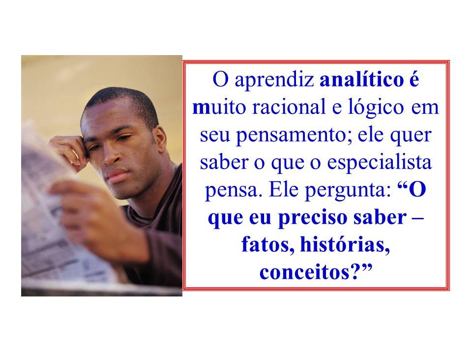 O aprendiz analítico é muito racional e lógico em seu pensamento; ele quer saber o que o especialista pensa. Ele pergunta: O que eu preciso saber – fa