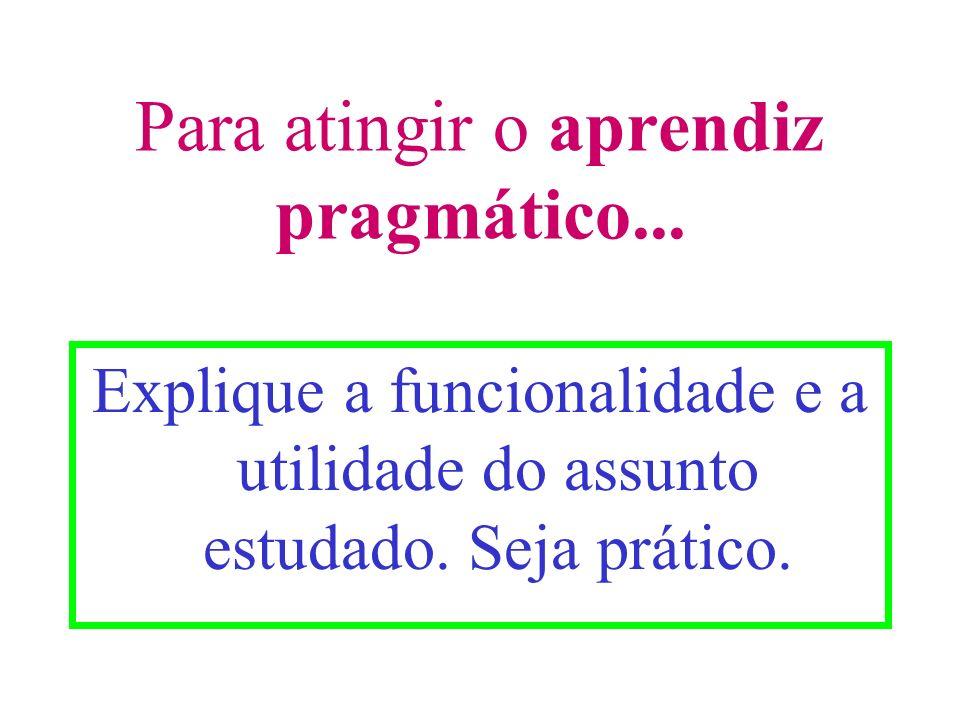Para atingir o aprendiz pragmático... Explique a funcionalidade e a utilidade do assunto estudado. Seja prático.
