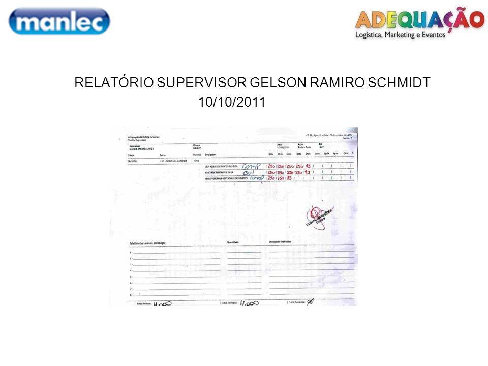 RELATÓRIO SUPERVISOR GELSON RAMIRO SCHMIDT 10/10/2011