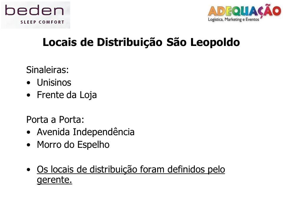 Locais de Distribuição São Leopoldo Sinaleiras: Unisinos Frente da Loja Porta a Porta: Avenida Independência Morro do Espelho Os locais de distribuição foram definidos pelo gerente.