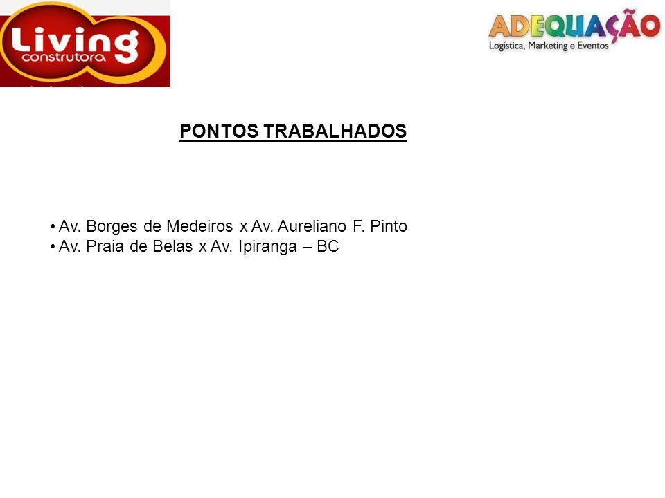 PONTOS TRABALHADOS Av. Borges de Medeiros x Av. Aureliano F. Pinto Av. Praia de Belas x Av. Ipiranga – BC