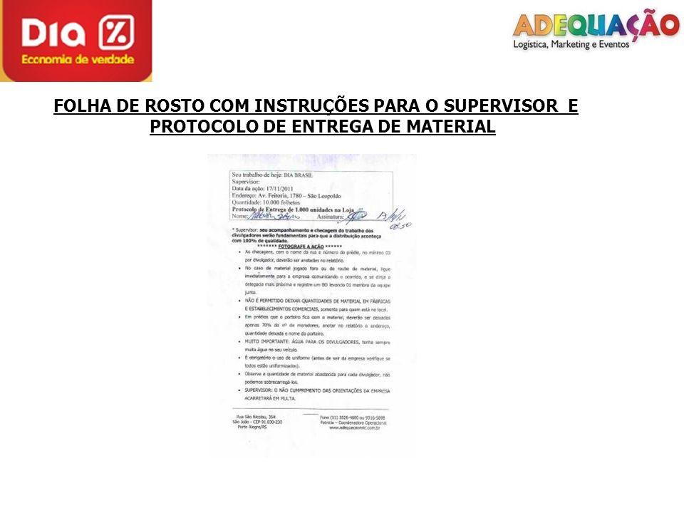 FOLHA DE ROSTO COM INSTRUÇÕES PARA O SUPERVISOR E PROTOCOLO DE ENTREGA DE MATERIAL