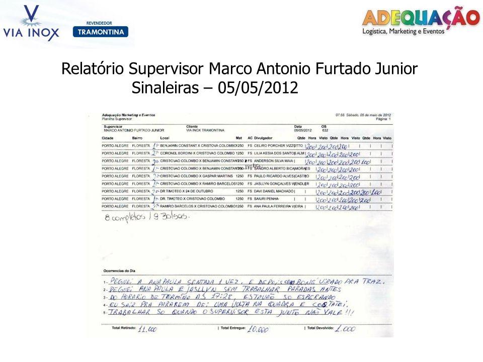 Relatório Supervisor Marco Antonio Furtado Junior Sinaleiras – 05/05/2012