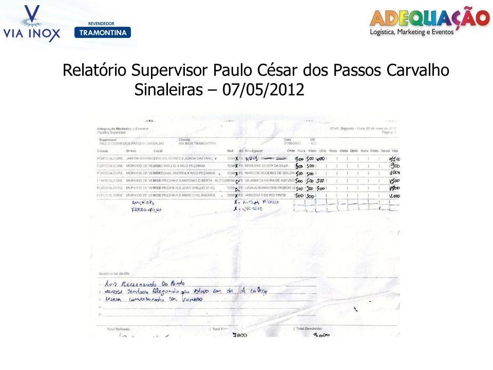 Relatório Supervisor Paulo César dos Passos Carvalho Sinaleiras – 07/05/2012