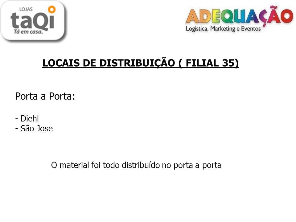 LOCAIS DE DISTRIBUIÇÃO ( FILIAL 35) Porta a Porta: - Diehl - São Jose O material foi todo distribuído no porta a porta