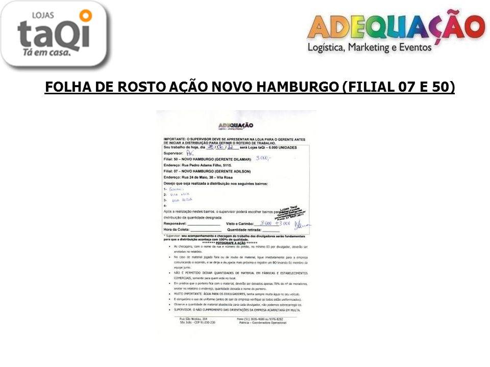 LOCAIS DE DISTRIBUIÇÃO ( FILIAIS 07 e 50) Porta a Porta: - Guarani - Vila Nova - Vila Rosa O material foi todo distribuído no porta a porta