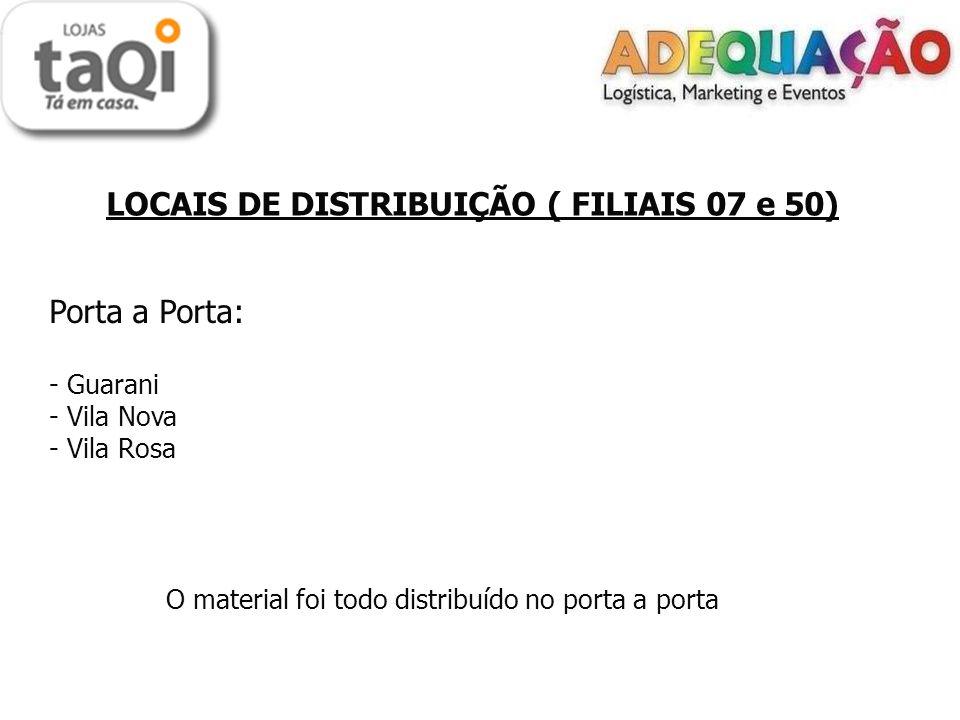 LOCAIS DE DISTRIBUIÇÃO PAROBÉ Porta a Porta: - Centro - Guarujá - Guarani - Nova Parobé O material foi todo distribuído no porta a porta.