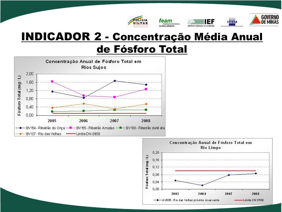 INDICADOR 2 - Concentração Média Anual de Fósforo Total