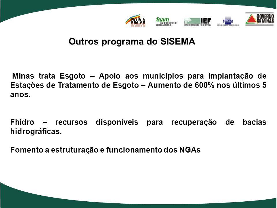 Outros programa do SISEMA Minas trata Esgoto – Apoio aos municípios para implantação de Estações de Tratamento de Esgoto – Aumento de 600% nos últimos 5 anos.