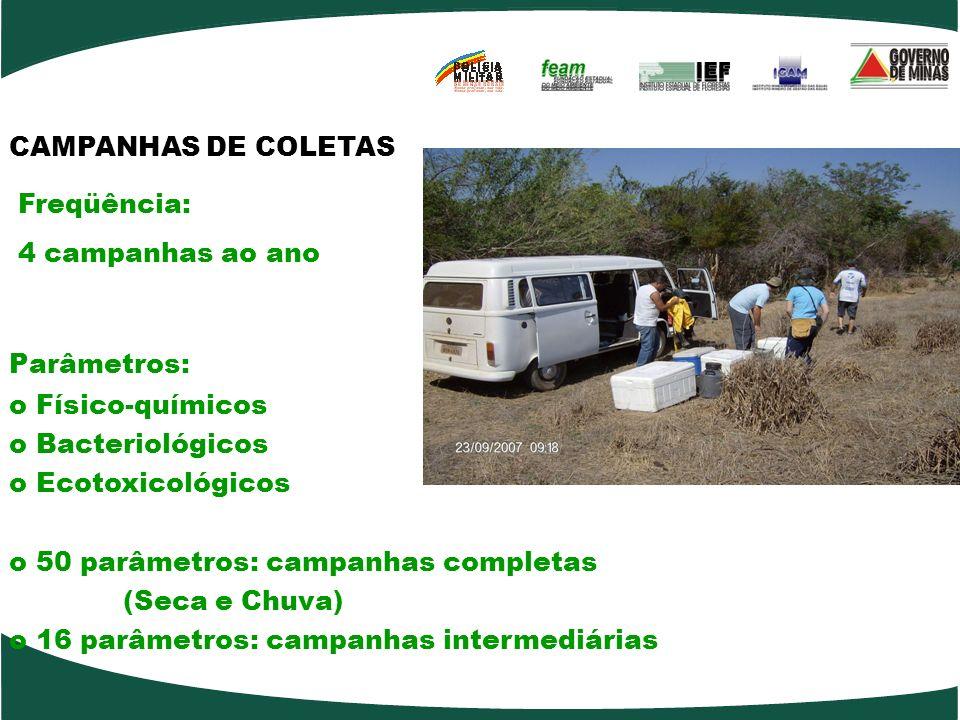CAMPANHAS DE COLETAS Freqüência: 4 campanhas ao ano Parâmetros: o Físico-químicos o Bacteriológicos o Ecotoxicológicos o 50 parâmetros: campanhas completas (Seca e Chuva) o 16 parâmetros: campanhas intermediárias